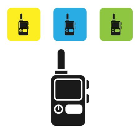 Black Walkie talkie icon isolated on white background. Portable radio transmitter icon. Radio transceiver sign. Set icons colorful square buttons. Vector Illustration Illusztráció