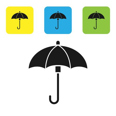 Black Umbrella icon isolated on white background. Waterproof icon. Protection, safety, security concept. Water resistant symbol. Set icons colorful square buttons. Vector Illustration