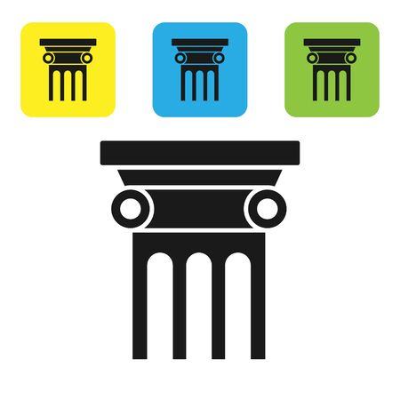 Black Law pillar icon isolated on white background. Set icons colorful square buttons. Vector Illustration Illustration
