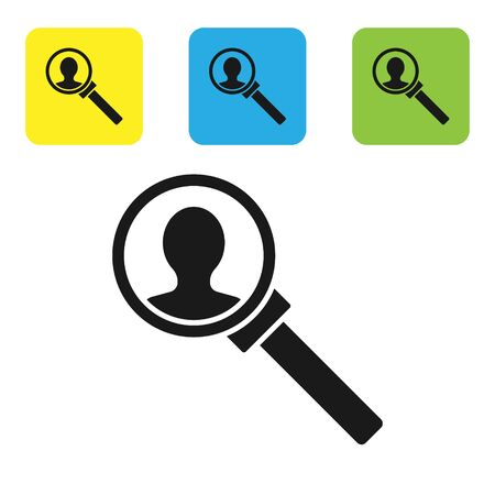 Black Magnifying glass for search icon isolated on white background. Recruitment or selection concept. Search for employees and job. Set icons colorful square buttons. Vector Illustration