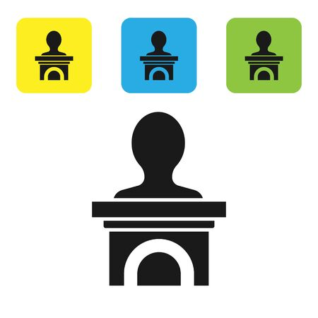 Black Stage stand or debate podium rostrum icon isolated on white background. Conference speech tribune. Set icons colorful square buttons. Vector Illustration 일러스트