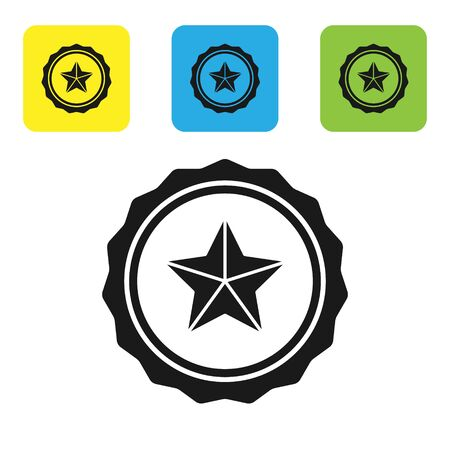 Black Police badge icon isolated on white background. Sheriff badge sign. Set icons colorful square buttons. Vector Illustration