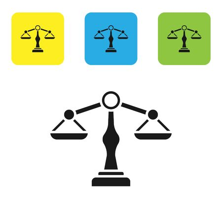 Black Scales of justice icon isolated on white background. Court of law symbol. Balance scale sign. Set icons colorful square buttons. Vector Illustration Illusztráció