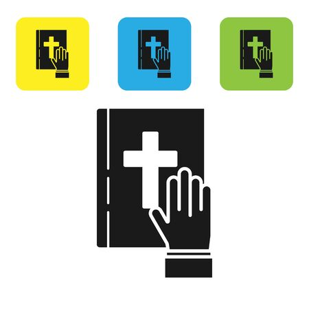 Black Oath on the Holy Bible icon isolated on white background. The procedure in court. Truth and truth. Promise before god. Set icons colorful square buttons. Vector Illustration