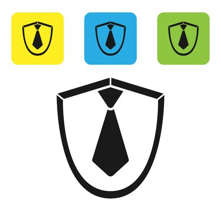 Black Tie icon isolated on white background. Necktie and neckcloth symbol. Set icons colorful square buttons. Vector Illustration
