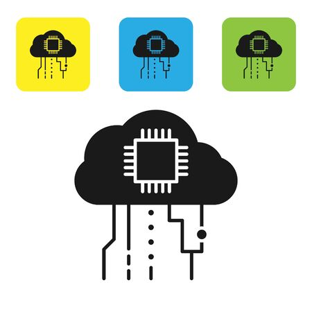 Black Internet of things icon isolated on white background. Cloud computing design concept. Digital network connection. Set icons colorful square buttons. Vector Illustration
