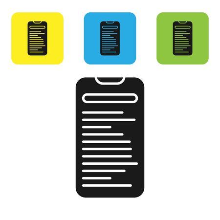Black Computer api interface icon isolated on white background. Application programming interface API technology. Software integration. Set icons colorful square buttons. Vector Illustration