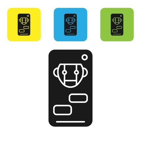 Black Bot icon isolated on white background. Robot icon. Set icons colorful square buttons. Vector Illustration