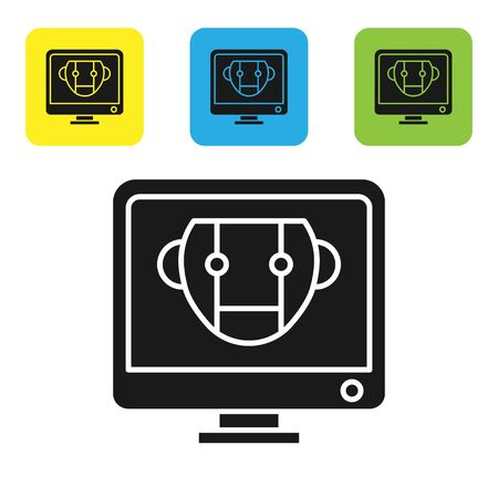 Black Bot icon isolated on white background. Computer monitor and robot icon. Set icons colorful square buttons. Vector Illustration 向量圖像