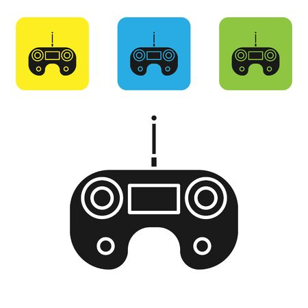 Black Remote control icon isolated on white background. Set icons colorful square buttons. Vector Illustration