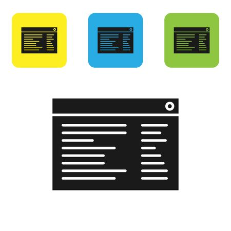 Black Software, web developer programming code icon isolated on white background. Set icons colorful square buttons. Vector Illustration
