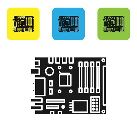 Black Electronic computer components motherboard digital chip integrated science icon isolated on white background. Circuit board. Set icons colorful square buttons. Vector Illustration