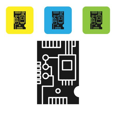 Black Electronic computer components motherboard digital chip integrated science icon isolated on white background. Circuit board. Set icons colorful square buttons. Vector Illustration Stok Fotoğraf - 133766797