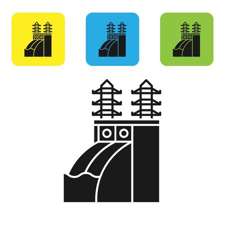 Black Nuclear power plant icon isolated on white background. Energy industrial concept. Set icons colorful square buttons. Vector Illustration Banque d'images - 133766799