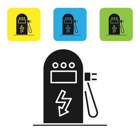 Black Electric car charging station icon isolated on white background. Eco electric fuel pump sign. Set icons colorful square buttons. Vector Illustration Ilustrace