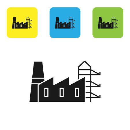 Black Power station plant and factory icon isolated on white background. Energy industrial concept. Set icons colorful square buttons. Vector Illustration Banque d'images - 133766810