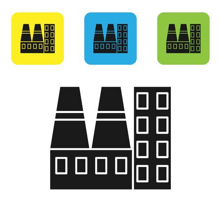 Black Power station plant and factory icon isolated on white background. Energy industrial concept. Set icons colorful square buttons. Vector Illustration Banque d'images - 133766820