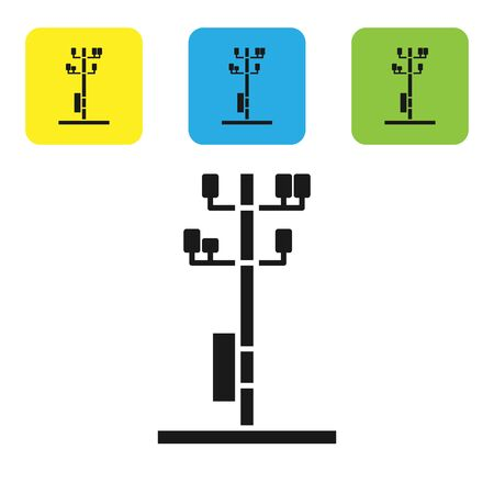 Black Electric tower used to support an overhead power line icon isolated on white background. High voltage power pole line. Set icons colorful square buttons. Vector Illustration Иллюстрация