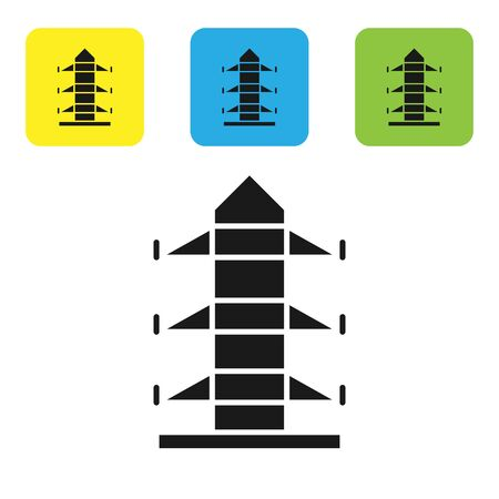 Black Electric tower used to support an overhead power line icon isolated on white background. High voltage power pole line. Set icons colorful square buttons. Vector Illustration 矢量图像