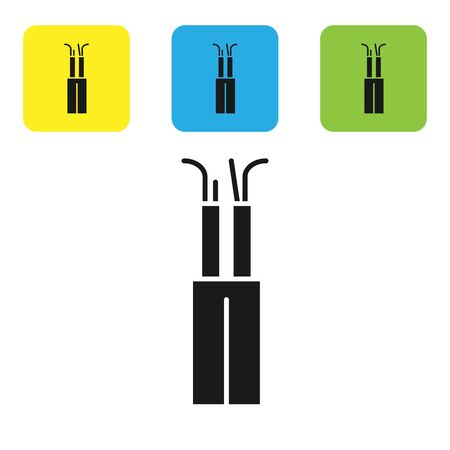 Black Electric cable icon isolated on white background. Set icons colorful square buttons. Vector Illustration