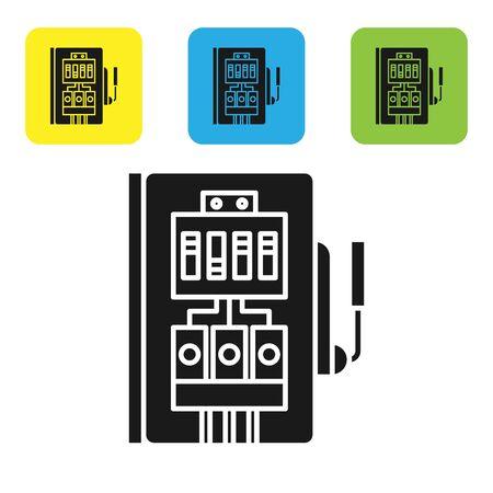 Icono de panel eléctrico negro aislado sobre fondo blanco. Establecer iconos coloridos botones cuadrados. Ilustración vectorial