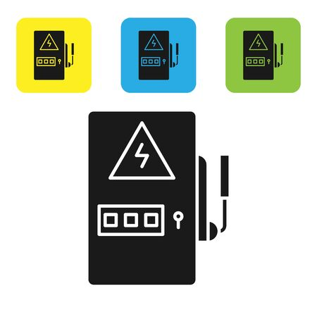 Black Electrical panel icon isolated on white background. Set icons colorful square buttons. Vector Illustration