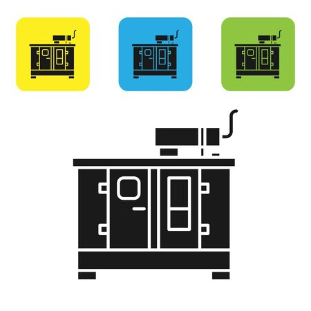 Black Diesel power generator icon isolated on white background. Industrial and home immovable power generator. Set icons colorful square buttons. Vector Illustration Illusztráció