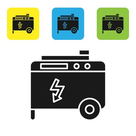 Black Portable power electric generator icon isolated on white background. Industrial and home immovable power generator. Set icons colorful square buttons. Vector Illustration Illusztráció