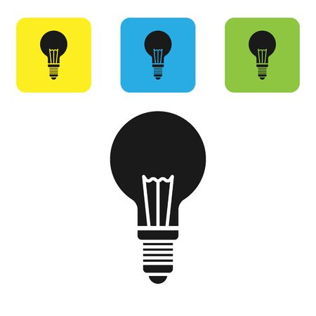 Black Light bulb with concept of idea icon isolated on white background. Energy and idea symbol. Inspiration concept. Set icons colorful square buttons. Vector Illustration