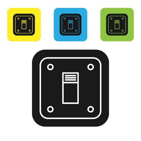 Black Electric light switch icon isolated on white background. On and Off icon. Dimmer light switch sign. Concept of energy saving. Set icons colorful square buttons. Vector Illustration