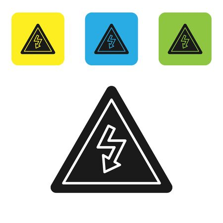 Black High voltage sign icon isolated on white background. Danger symbol. Arrow in triangle. Warning icon. Set icons colorful square buttons. Vector Illustration