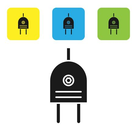 Black Electric plug icon isolated on white background. Concept of connection and disconnection of the electricity. Set icons colorful square buttons. Vector Illustration Ilustrace