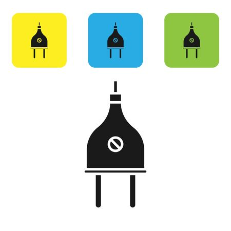 Black Electric plug icon isolated on white background. Concept of connection and disconnection of the electricity. Set icons colorful square buttons. Vector Illustration Vectores