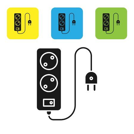 Black Electric extension cord icon isolated on white background. Power plug socket. Set icons colorful square buttons. Vector Illustration
