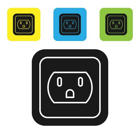 Black Electrical outlet in the USA icon isolated on white background. Power socket. Set icons colorful square buttons. Vector Illustration
