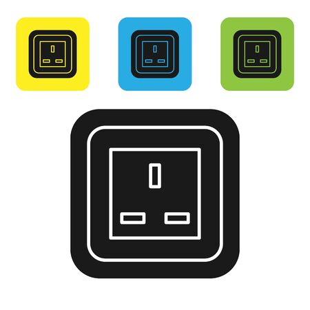 Black Electrical outlet icon isolated on white background. Power socket. Rosette symbol. Set icons colorful square buttons. Vector Illustration Banco de Imagens - 133767019
