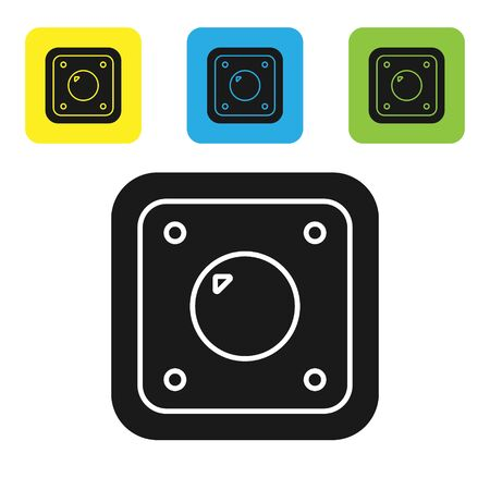 Black Electric light switch icon isolated on white background. On and Off icon. Dimmer light switch sign. Concept of energy saving. Set icons colorful square buttons. Vector Illustration Banco de Imagens - 133767020