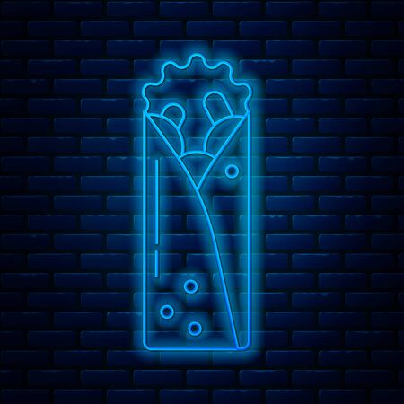 Glowing neon line Doner kebab icon isolated on brick wall background. Shawarma sign. Street fast food menu. Vector Illustration