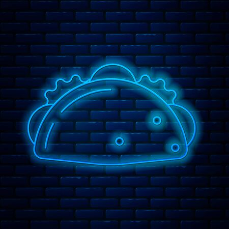 Glowing neon line Taco with tortilla icon isolated on brick wall background. Traditional mexican fast food menu. Vector Illustration Ilustracja