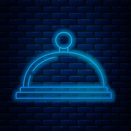 Glowing neon line Covered with a tray of food icon isolated on brick wall background. Tray and lid sign. Restaurant cloche with lid. Kitchenware symbol. Vector Illustration