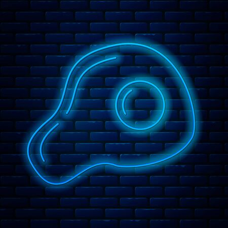 Glowing neon line Scrambled eggs icon isolated on brick wall background. Home cooked food, fried egg, healthy breakfast, omelet icon. Vector Illustration