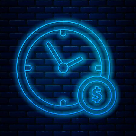 Glowing neon line Time is money icon isolated on brick wall background. Money is time. Effective time management. Convert time to money. Vector Illustration
