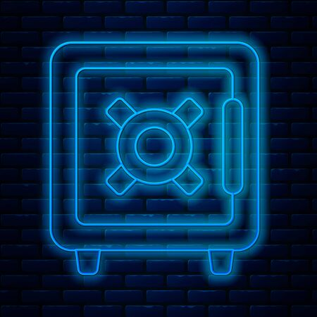 Glowing neon line Safe icon isolated on brick wall background. The door safe a bank vault with a combination lock. Reliable Data Protection. Vector Illustration