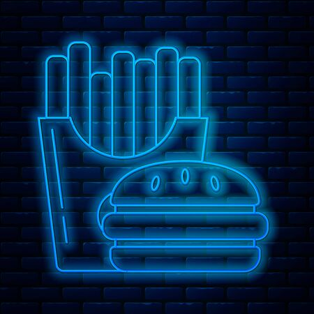 Glowing neon line Burger and french fries in carton package box icon isolated on brick wall background. Hamburger, cheeseburger sandwich. Fast food menu. Vector Illustration
