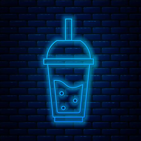 Glowing neon line Glass of lemonade with drinking straw icon isolated on brick wall background. Vector Illustration