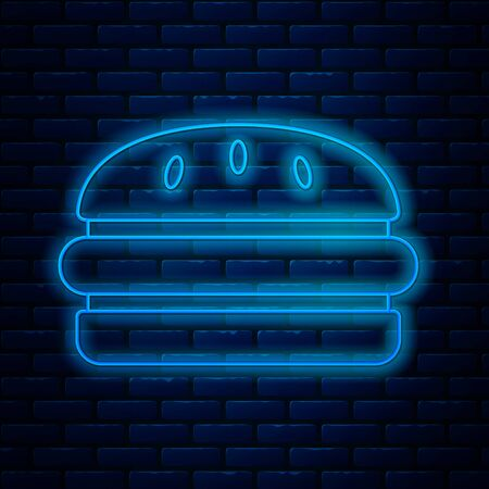 Glowing neon line Burger icon isolated on brick wall background. Hamburger icon. Cheeseburger sandwich sign. Fast food menu. Vector Illustration