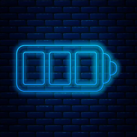 Glowing neon line Battery charge level indicator icon isolated on brick wall background. Vector Illustration