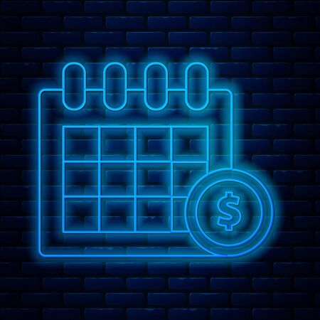 Glowing neon line Financial calendar icon isolated on brick wall background. Annual payment day, monthly budget planning, fixed period concept, loan duration. Vector Illustration Illusztráció