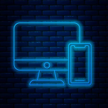 Glowing neon line Computer monitor and mobile phone icon isolated on brick wall background. Earnings in the Internet, marketing. Vector Illustration Illustration