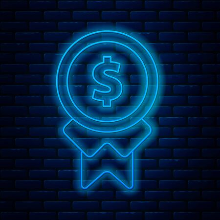 Glowing neon line Reward for good work icon isolated on brick wall background. Employee of the month, talent award, outstanding achievement, successful person. Vector Illustration Banco de Imagens - 133711307